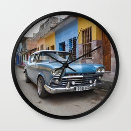 Baby Blue Vintage Classic Car Cuba Trinidad Stucco Cityscape Travel Latin America Tropical Wall Clock