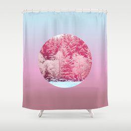 Candy pine trees lens Shower Curtain