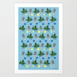 Aliens & Astronauts pattern Art Print