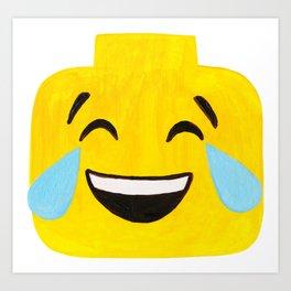 Tears of Joy - Emoji Minifigure Painting Art Print