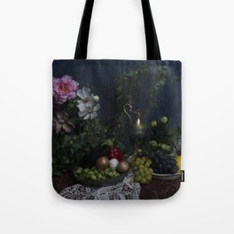 Classic  still life with flowers, fruit, vegetables and wine Tote Bag