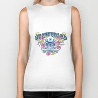 skateboard Biker Tanks featuring Skateboard print by Komiksar