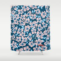 cherry blossom Shower Curtains featuring Cherry Blossom by Alannah Brid