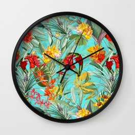 Vintage & Shabby Chic - Colorful Tropical Blue Garden Wall Clock