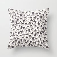 hats Throw Pillows featuring Cats With Hats by Teo Zirinis