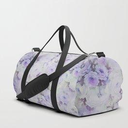Vintage lavender gray botanical roses floral Duffle Bag