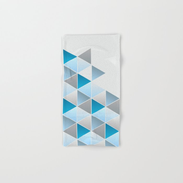 Triangles Blue Gray Geometric Hand & Bath Towel