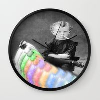 lsd Wall Clocks featuring LSD Chicken by Whiteashes