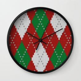 Knitted argyle Christmas sweater pattern on red Wall Clock