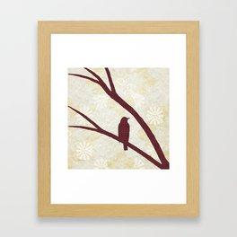 Bird Silhouette Red Pattern Framed Art Print