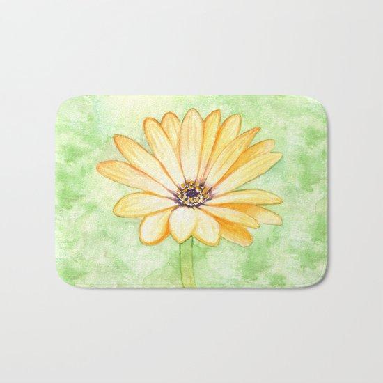 Orange aster flower Bath Mat
