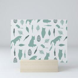 Winter Fox (Moss) Mini Art Print
