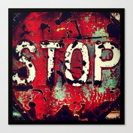 Battered Stop Sign Canvas Print