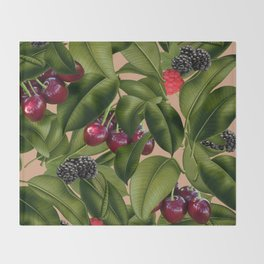 FRUITS AND LEAVES Throw Blanket