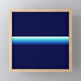 Nagayasu - Classic Maritime Blue Minimal Retro Stripes Framed Mini Art Print