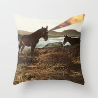 pony Throw Pillows featuring PONY by KELLY SCHIRMANN