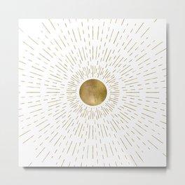 Gold Sun Burst Metal Print