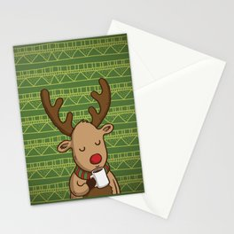 Christmas Deer Enjoying with Coffee Stationery Cards