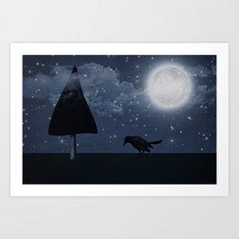 der einsame Rabe in der Nacht Art Print