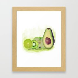 Fresh Green fruits watercolor painting Framed Art Print