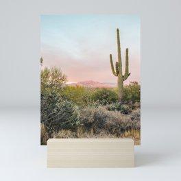Desert Mountains Saguaro Cactus Blue & Pink Sunset Phoenix Arizona Mini Art Print