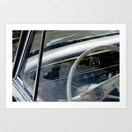 Steering wheel and speedometer of an old antique car - Nostalgia photography Art Print