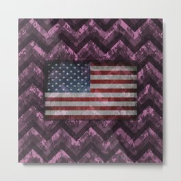 Orchid Purple Digital Camo Chevrons with American Flag Metal Print