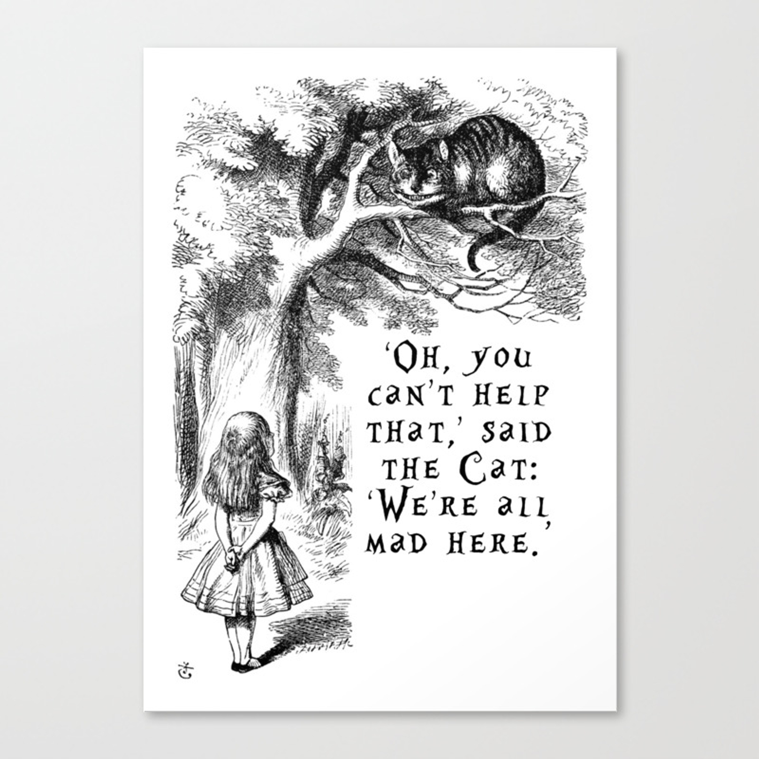 Were all mad here canvas print