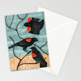 Red Winged Blackbirds in Marsh Stationery Cards
