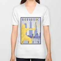 travel poster V-neck T-shirts featuring Republic City Travel Poster by HenryConradTaylor