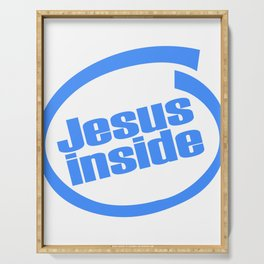 """A Nice Inside Theme Tee For You Who Loves Being Inside Saying """"Jesus Inside"""" T-shirt Design Faith Serving Tray"""