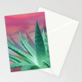 """Pastel Succulent Pink Sunset"" Stationery Cards"