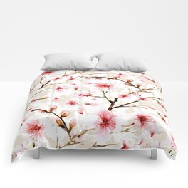 Watercolor cherry blossom pattern Comforters