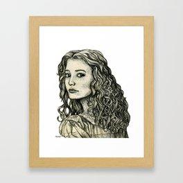 Cautious Girl Framed Art Print