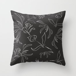 Hand Drawn Floral Throw Pillow