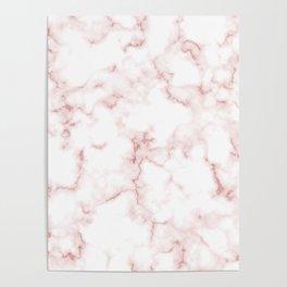 Pink Rose Gold Marble Natural Stone Gold Metallic Veining White Quartz Poster