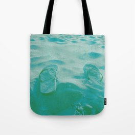 Thongs in the sand photo Tote Bag