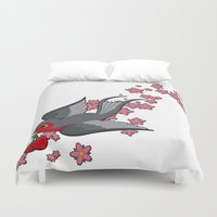 swallow Duvet Covers featuring Grey Swallow by Jelly Roger
