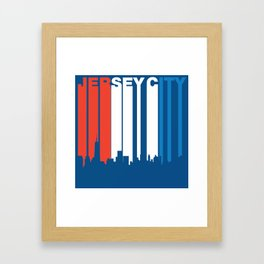 Red White And Blue Jersey City New Jersey Skyline Framed Art Print