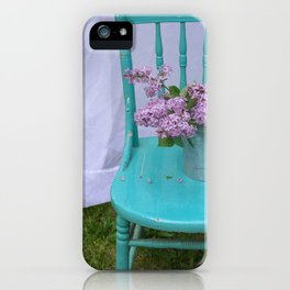Lilacs in turquoise chair iPhone Case