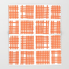 Mid Century Modern Abstract Squares Orange Throw Blanket