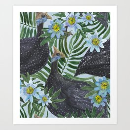 Guinea fowl birds Art Print