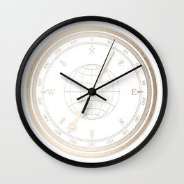 Gold Compass on White Wall Clock