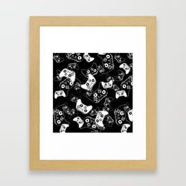 Video Game White on Black Framed Art Print
