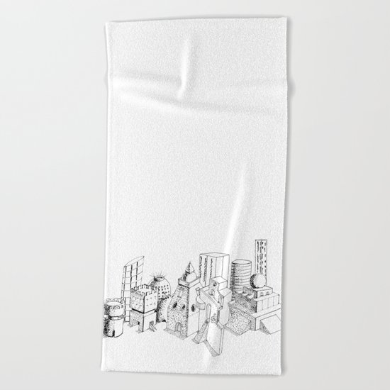 cubes and balls in the city Beach Towel