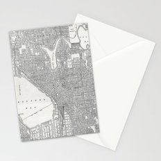 Vintage Seattle Map Stationery Cards