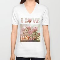 roses V-neck T-shirts featuring roses by PaulaPanther