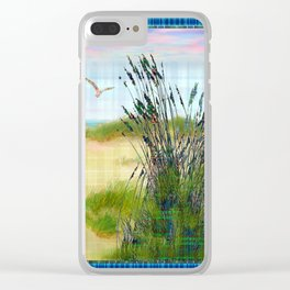 Plaid Beachscape with Seagrass Clear iPhone Case