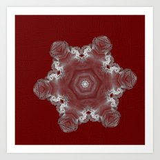 Spectacular fractal snowflake on textured red Art Print