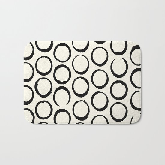 Polka Dots Circles Tribal Black and White Bath Mat